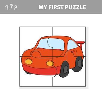 Cartoon-illustration von puzzle-spiel für kinder im vorschulalter mit auto - mein erstes puzzle