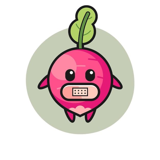 Cartoon-illustration von rettich mit klebeband am mund, süßes design für t-shirt, aufkleber, logo-element