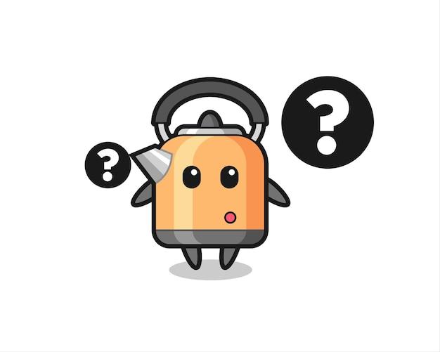 Cartoon-illustration von wasserkocher mit dem fragezeichen, süßes design für t-shirt, aufkleber, logo-element