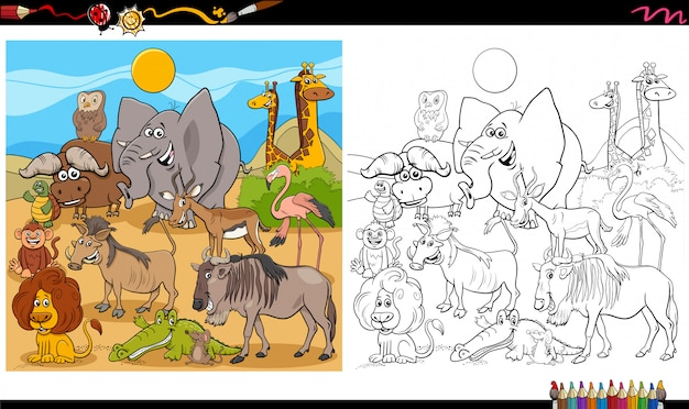Cartoon illustration von wildtiercharakteren big group malbuch seite