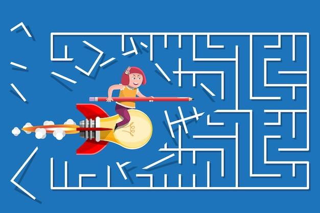 Cartoon illustration wissenskonzept. ein mädchen fährt mit einer glühbirnenrakete durch das labyrinth.