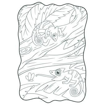 Cartoon illustration zwei chamäleons auf einem großen baumstamm buch oder seite für kinder schwarz und weiß