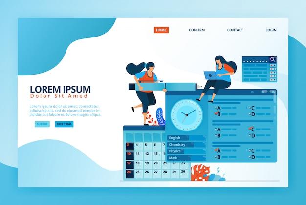 Cartoon-illustrationen zum ausfüllen von quiz oder online-prüfungen im fernlernprogramm. zeitplan für den zulassungstest im kalender. digitale bildung.