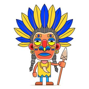 Cartoon-indianer. lustiger, travestie-cartoon. charakter indian isoliertes objekt
