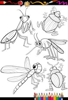 Cartoon insekten set für malbuch