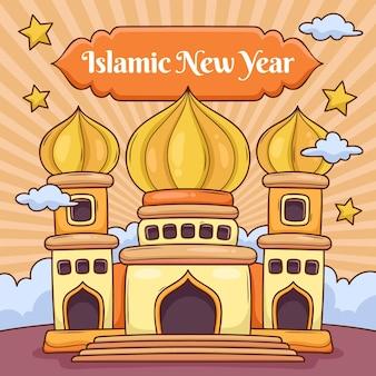 Cartoon islamische neujahrsillustration