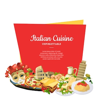 Cartoon italienische küche elemente unter frame banner set