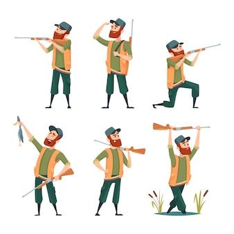 Cartoon-jäger. verschiedene charaktere von jägern bei action-posen