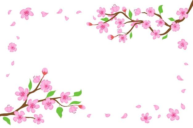 Cartoon japanische kirschblüte und fallende blütenblätter hintergrund. sakura-zweige mit rosa blumenbanner blühender frühlingsbaum-vektorrahmen. japanische traditionelle pflanze mit schönen knospen