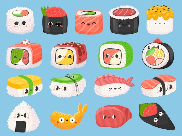 Cartoon japanisches sushi, brötchen und garnelen-tempura mit kawaii-gesichtern. nettes asiatisches essen nigiri mit lachs. onigiri lustige zeichen vektor-set. asiatische küche mit fischzutaten und emotionsausdruck Premium Vektoren