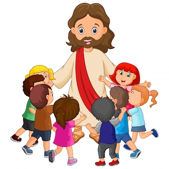 Cartoon jesus christus mit kindern
