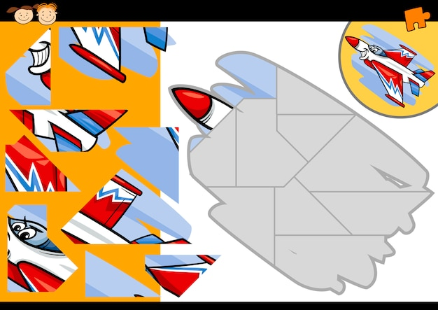 Cartoon-jet-puzzle-spiel