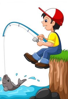 Cartoon junge angeln
