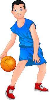 Cartoon-junge, der basketball spielt