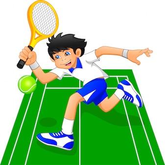 Cartoon-junge, der tennis spielt