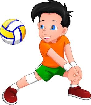 Cartoon-junge, der volleyball spielt