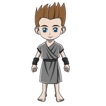 Cartoon junge in griechischem kostüm
