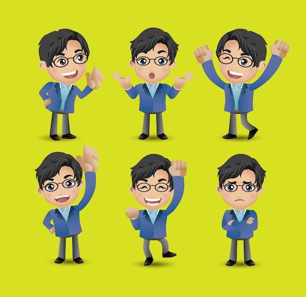 Cartoon junge leute. männer mit unterschiedlichen posen