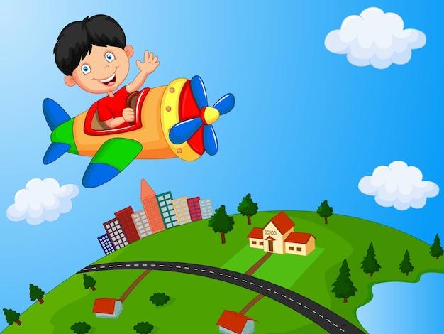 Cartoon junge reiten flugzeug
