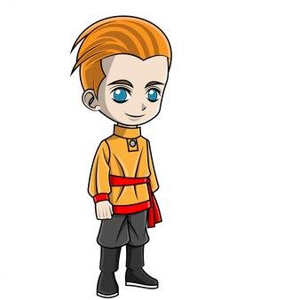 Cartoon junge russische kleidung zu tragen