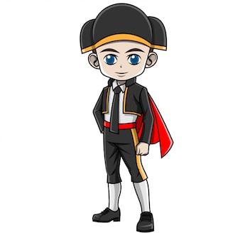 Cartoon junge trägt spanische tracht