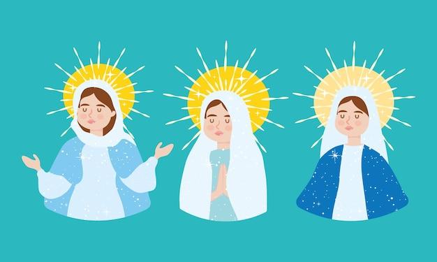 Cartoon jungfrau maria bühnenbild