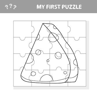 Cartoon-käse. puzzle. kombiniere teile und vervollständige das bild. pädagogisches kinderspiel, kinder-sctivity-seite - mein erstes puzzle- und malbuch