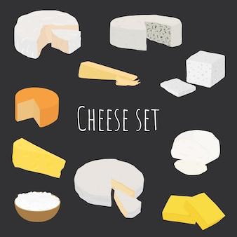 Cartoon-käsesorten eingestellt. verschiedene käsesorten einfaches design.