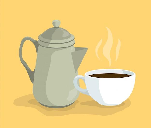 Cartoon-kaffeekessel und tasse auf teller