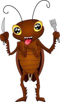 Cartoon kakerlake bereit zu essen