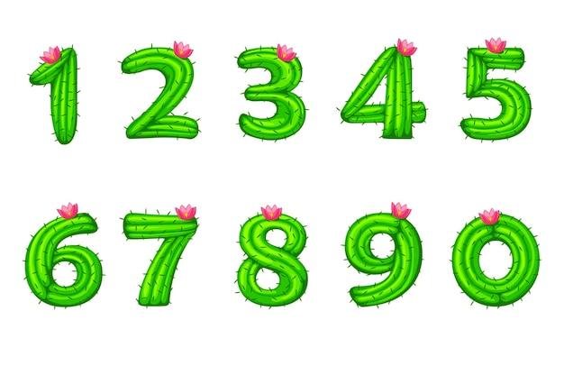Cartoon-kaktus mit blumenschrift kinderzahlen für die schule ui. vektorillustrationssatz grüne naturfiguren von pflanzen.