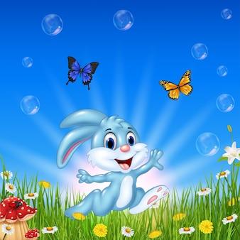 Cartoon-kaninchen mit schmetterling