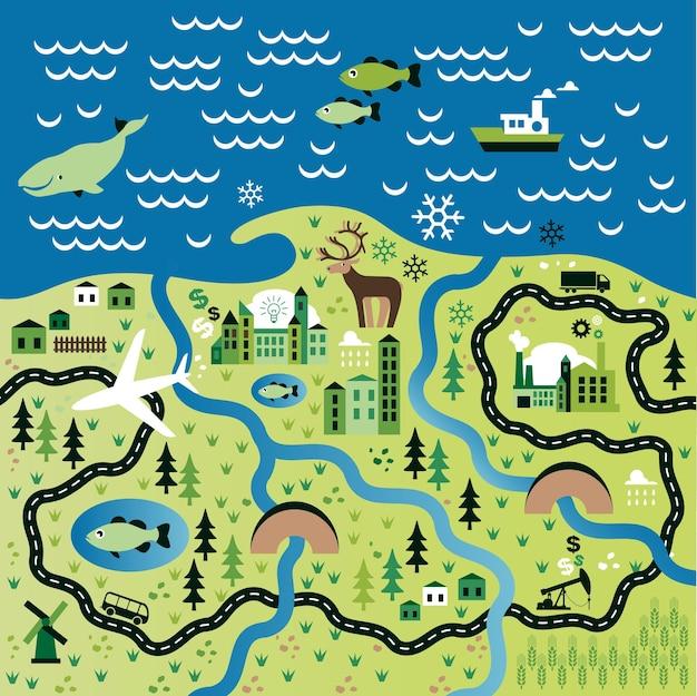 Cartoon-karte mit dem fluss
