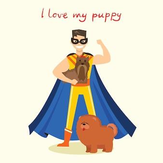 Cartoon-karte mit superhelden-mann mit süßem hund