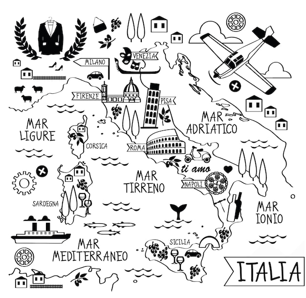 Cartoon-karte von italien mit sehenswürdigkeiten