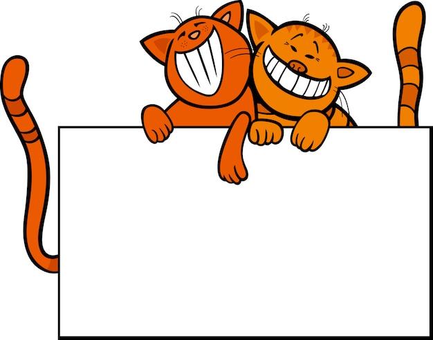 Cartoon katzen mit brett oder karte