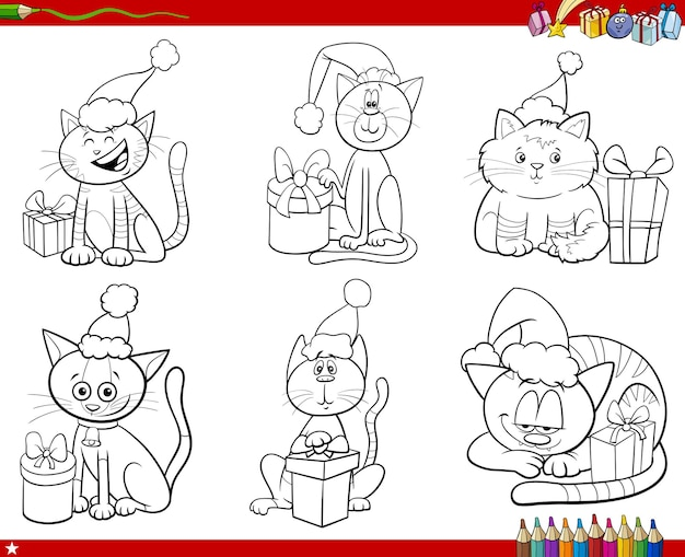 Cartoon katzen tierfiguren auf weihnachtszeit eingestellt malbuchseite