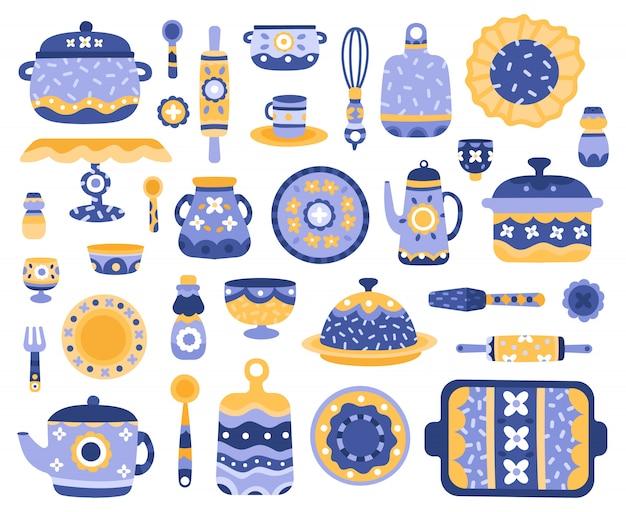 Cartoon keramik geschirr. küchengeschirr, porzellangeschirr, geschirr, teekanne, serviergeschirr-illustrationsikonen gesetzt. porzellangeschirr, kochgeschirr keramik, küchengeschirr