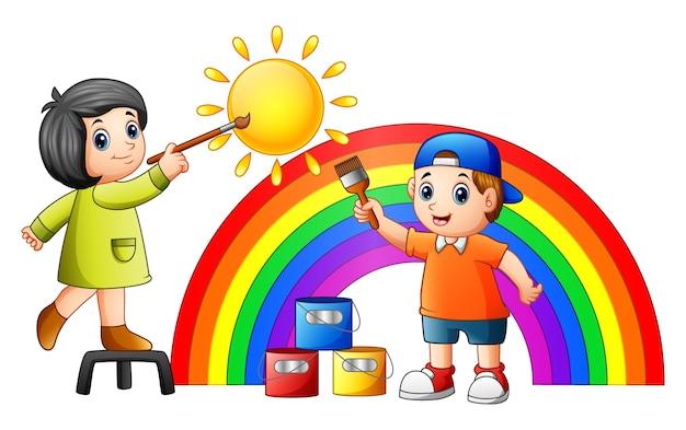 Cartoon kinder malen regenbogen und sonne