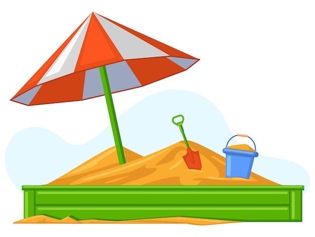 Cartoon kinder sommer outdoor-sandbox-spiele ausrüstung. sand, eimer und schaufel kinderunterhaltungsspiele vektorgrafik. sandkasten-spielplatzunterhaltung, sandkasten im freien
