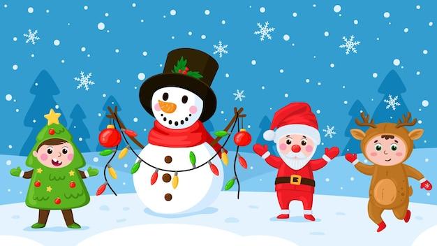 Cartoon-kinder und schneemann. kinder in weihnachtskostümen, die im freien spielen, winterurlaub-aktivitäten-vektor-illustration. glückliche kinder, die mit schneemann spielen outdoor-szene urlaub, girlande und schneemann