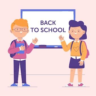 Cartoon kinder zurück zur schule