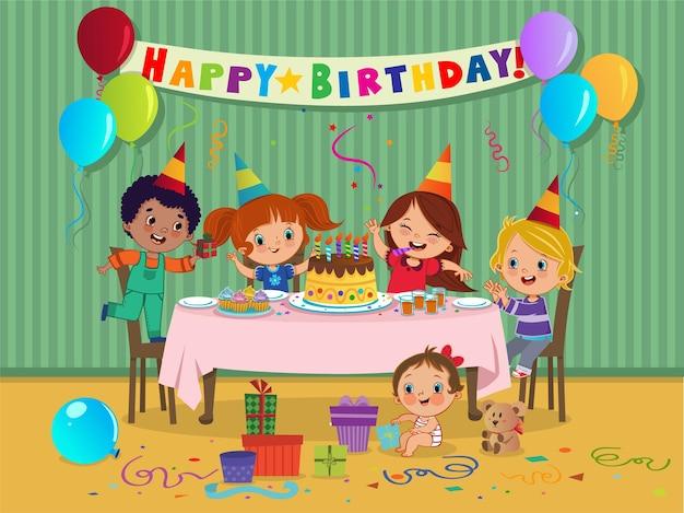 Cartoon-kinderparty mit süßigkeiten und geschenken auf geburtstagsfeier vektor-illustration