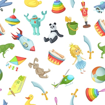 Cartoon kinderspielzeug nahtlose muster