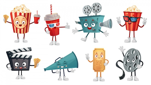 Cartoon kino maskottchen. popcorn in gläsern, lustige filmfilmkamera und kinokartencharakter-illustrationssatz