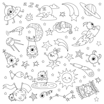 Cartoon kleine außerirdische im weltraum. doodle illustration zum ausmalen