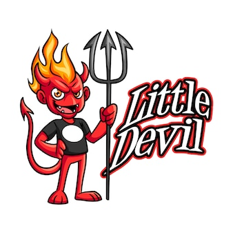 Cartoon kleine böse teufel charakter maskottchen logo