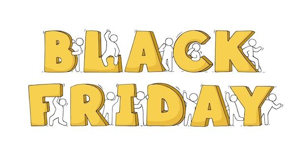Cartoon kleine leute mit großen worten black friday. handgezeichnete illustration