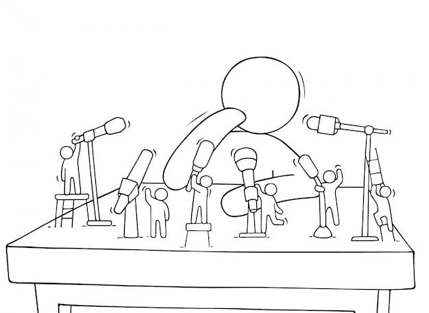 Cartoon kleine leute mit mikrofonen
