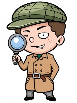 Cartoon kleiner detektiv Premium Vektoren
